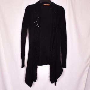 Belldini Cotton/Acrylic Open Front Cardigan Black